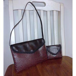 Handbags - Faux Crocodile Leather Handbag Wallet Set NWOT